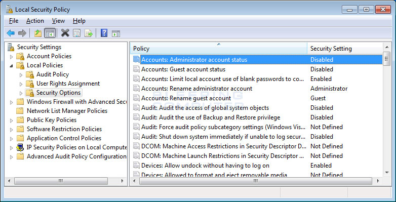 What Local Security Policy Windows 7