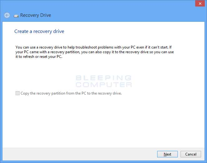 Recovery Drive Start Screen
