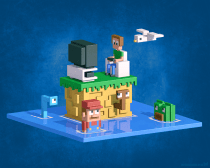 Retromania, voxel tribute to the good ol' gaming days, rendered in Blender