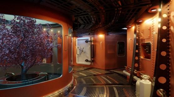 Spacepunk spaceship Interior