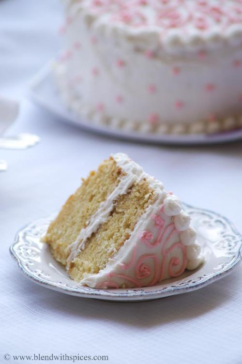 Eggless Vanilla Cake With Buttercream Frosting