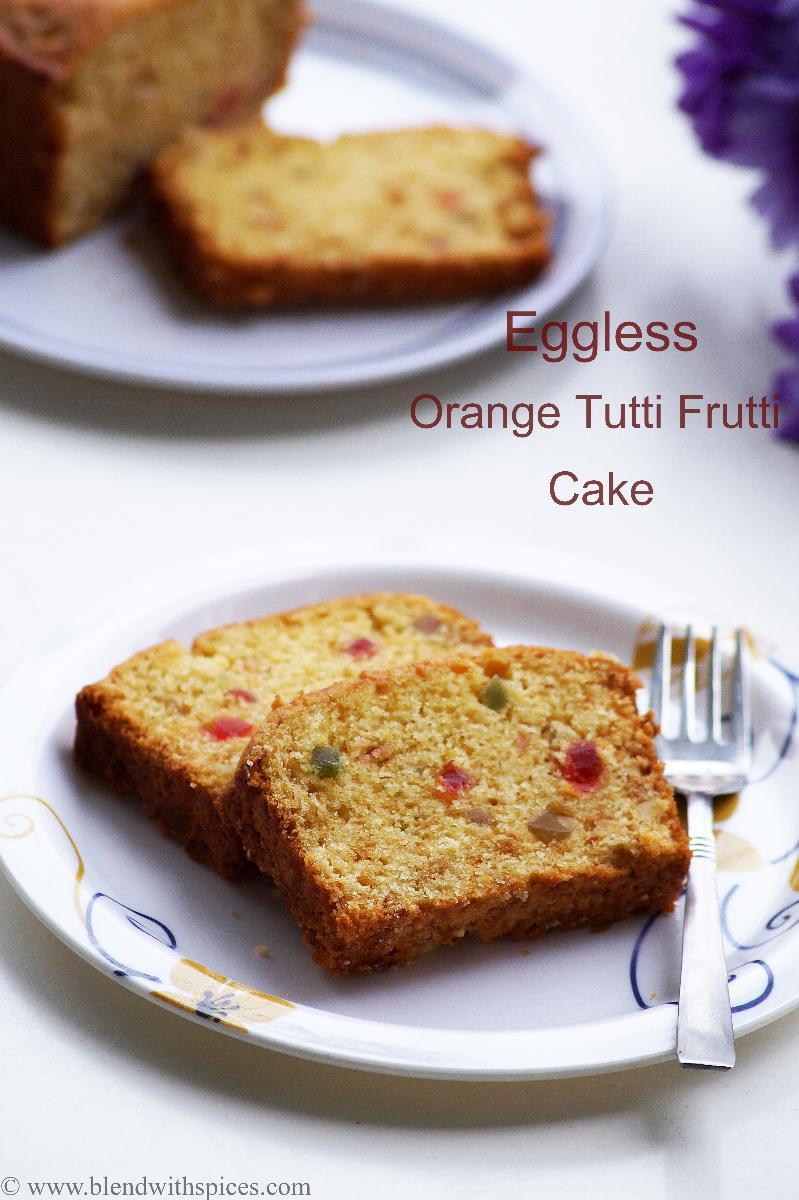 Eggless Orange Tutti Frutti Cake Recipe - Vegan Orange Fruit Cake Recipe - Easy Christmas Cake Recipes