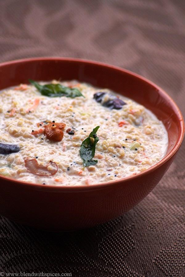 Quinoa Daddojanam Recipe – How to Make South Indian Curd Quinoa with Video