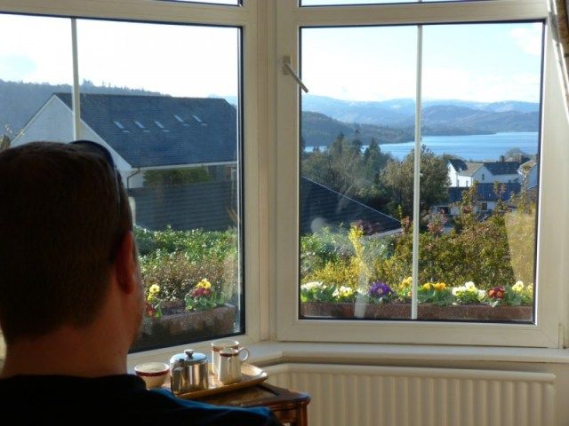 A guest relaxes with a pot of tea and admires sunny views from our lounge windows today.