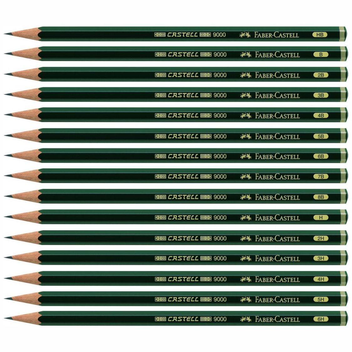 FABER CASTELL Bleistift 9000 8B-6H [Härte wählbar]