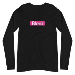 Blerd Pink box logo long sleeve tee Black