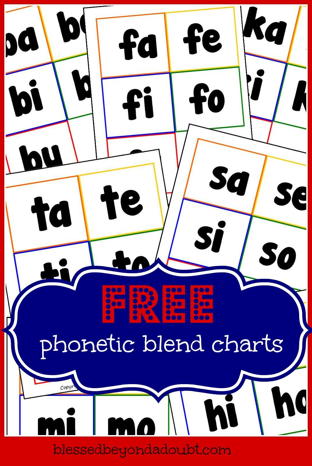 Free Phonetic Blend Charts
