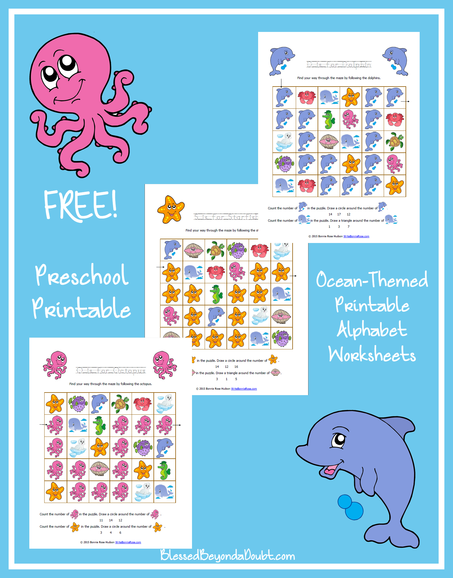 Free Ocean Themed Printable Alphabet Worksheets For