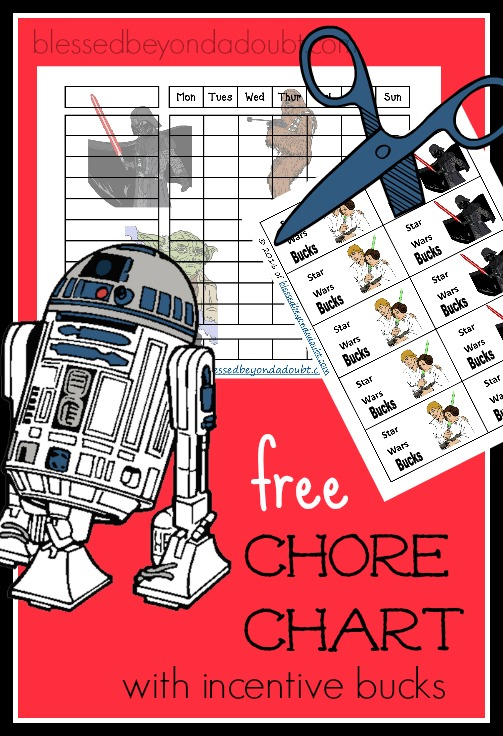 FREE Star Wars Chore Charts With Incentive Bucks