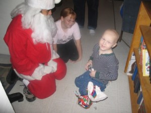 Andrew during his surprise Santa visit.