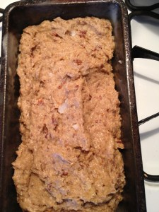 Fill the loaf pan about 3/4 full.