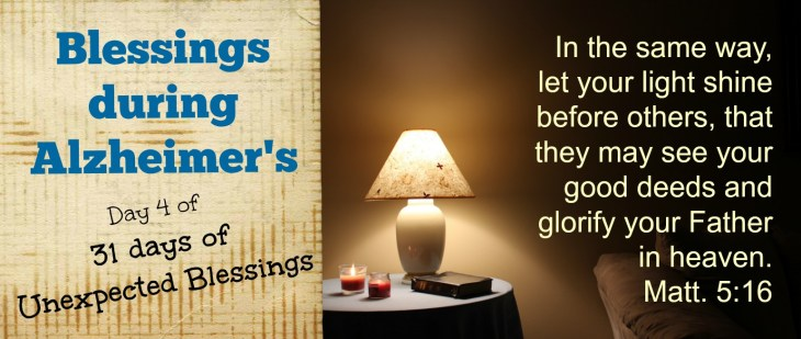 Our loved ones spiral down into the darkness of memory loss and dementia as Alzheimer's takes over, but the light is still on, and loves shines through.