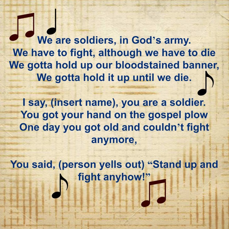 "Sometimes a simple song mix-up by a child can send you the right message, ""Fight Up and Stand Anyhow!"""