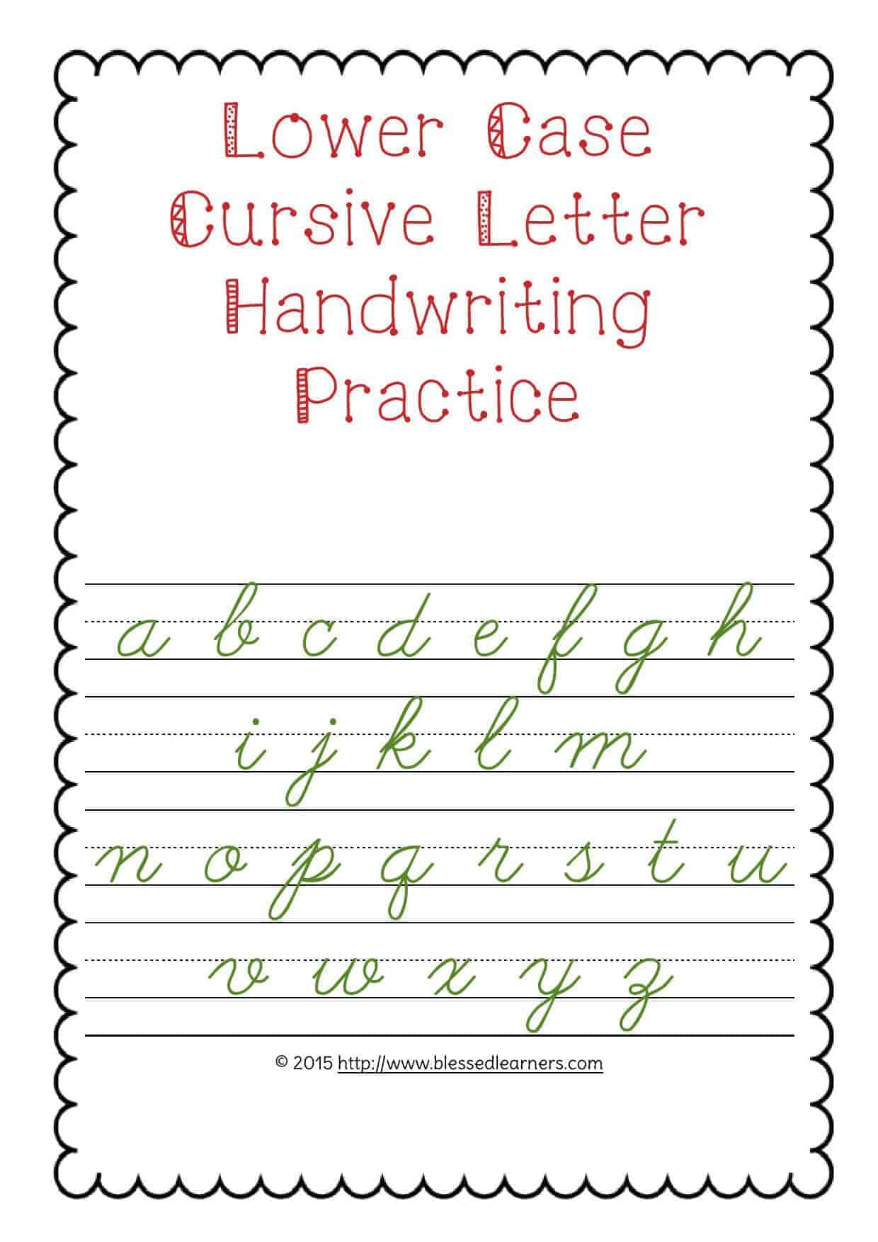 Lower Case Letter Handwriting Practice