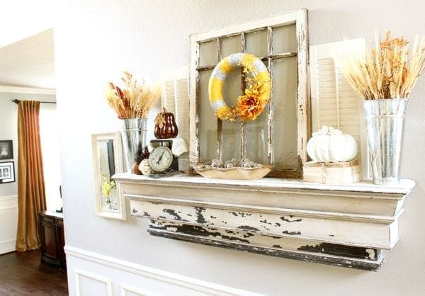 Fall Mantel.... Notice that the mantel is not a mantel above a fireplace!