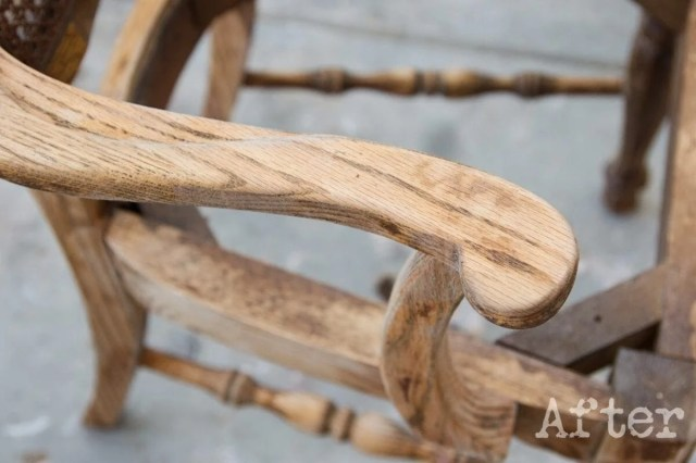 After using denatured alcohol to strip wood stain on this chair -- look at how clean that is!
