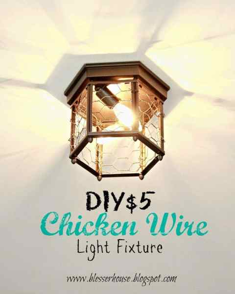 Thrifted Chicken Wire Light Fixture   Bless er House Check out that cool pattern they make on the ceiling  So much more visually  interesting  And with the cost of the  3 fixture and about  1 per light for