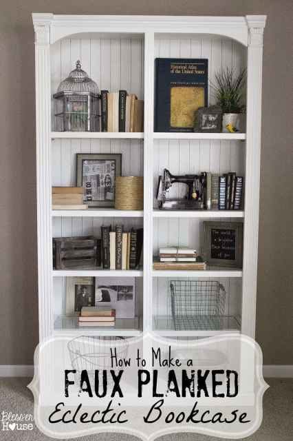 Bless'er House | How to Make a Faux Planked Eclectic Bookcase