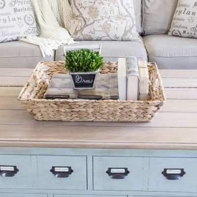 DIY Faux Planked Card Catalog Coffee Table