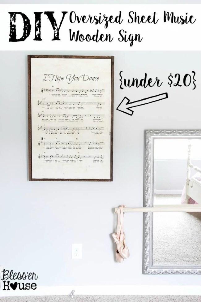 DIY Oversized Sheet Music Wooden Sign