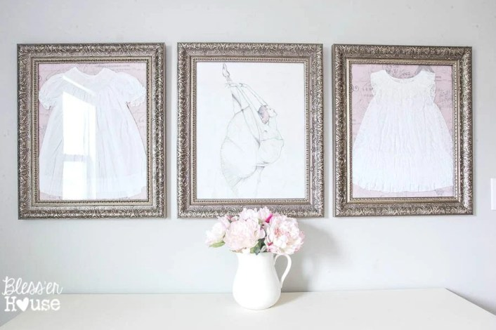 Framed Children's Clothes + Little Girl Bedroom Wall Decor on a Budget | Bless'er House