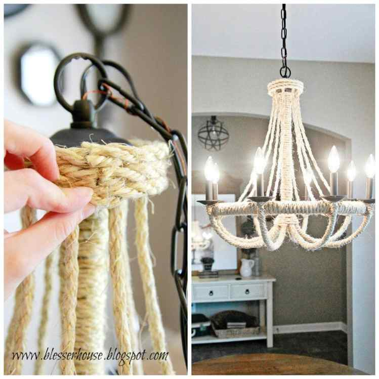 10 Must-Have Craft Supplies for Endless Money Saving Projects | Bless'er House- Upgrade a plain chandelier using rope, hot glue, and a hula hoop for less than $20.