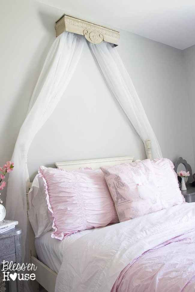 DIY Canopy from a Repurposed Shelf   Bless'er House - This version is over $400 less than the RH Baby and Child version and looks nearly identical!