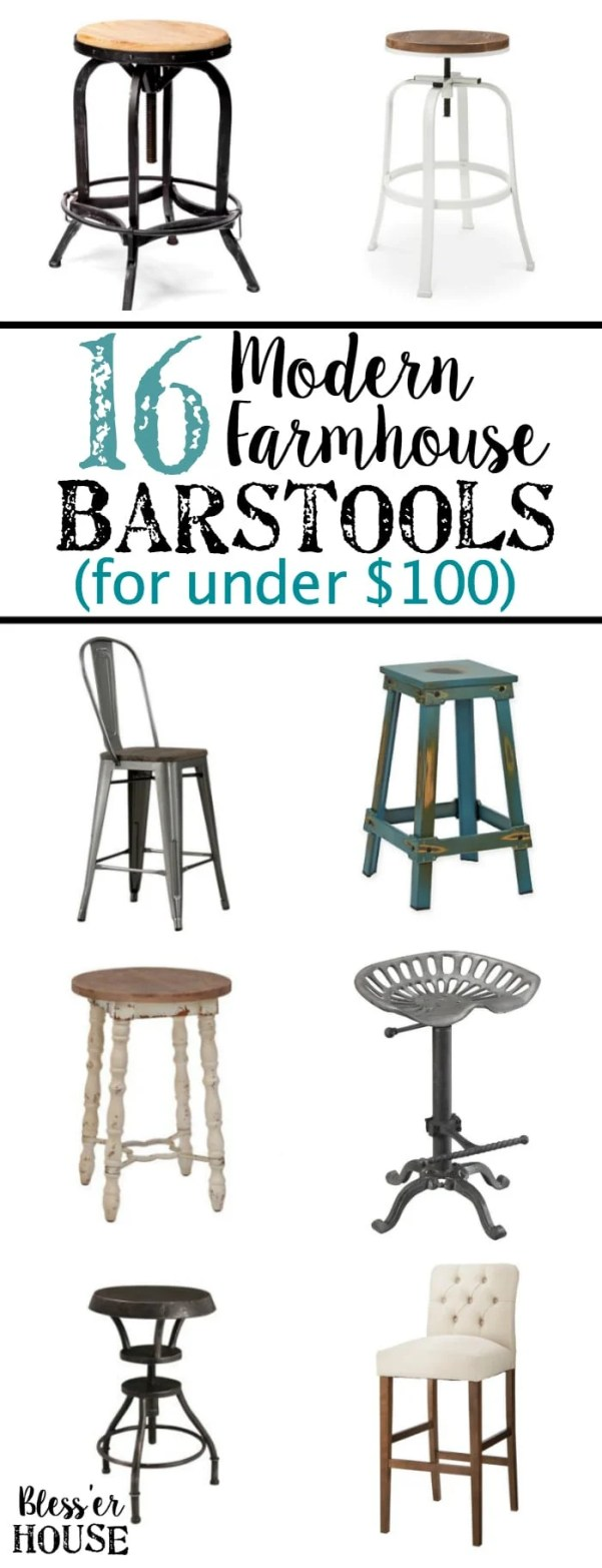 Modern Farmhouse Barstools for Under $100 | blesserhouse.com - Rustic industrial barstools for a strict budget plus how to get them for even cheaper by stacking discounts and getting cash back.