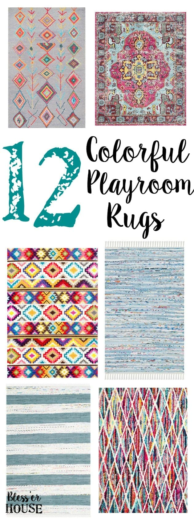 12 Colorful Playroom Rugs | blesserhouse.com - 12 colorful playroom rugs that could work in any casual and fun-loving space, even for a small budget.