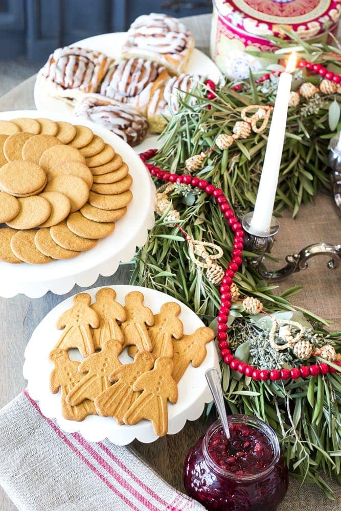 Swedish St Lucia Inspired Christmas Table | blesserhouse.com - How to put together a Swedish inspired Christmas table using fresh greenery, a crown of candles, and traditional Swedish desserts. #sponsored