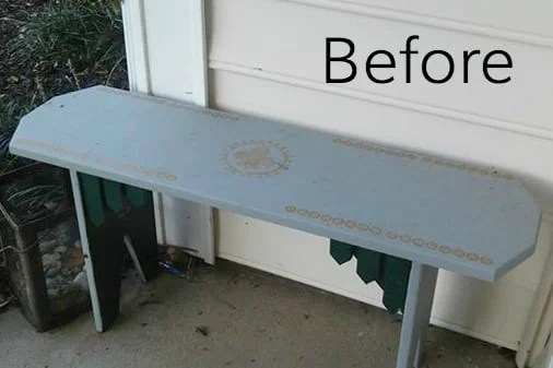 Repurposed Bench Coffee Table | blesserhouse.com - A repurposed bench coffee table gets a simple makeover with Fusion Mineral Paint along with ideas for styling a cozy fall front porch.