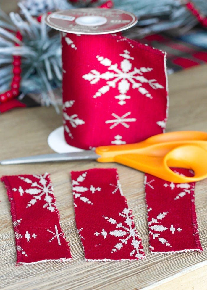 DIY Nordic Sweater Mini Christmas Trees | blesserhouse.com - How to make Nordic sweater mini Christmas trees using just florist foam, ribbon, and hot glue for cute decor accents on tabletops and mantels.