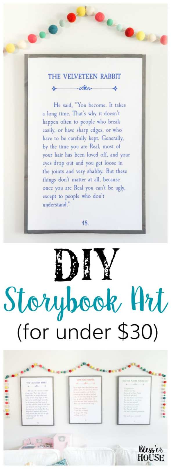 DIY Storybook Art | blesserhouse.com - How to make DIY storybook art for less than $30 using just plywood, 1x2 boards, and colored engineer prints plus 3 free printables.