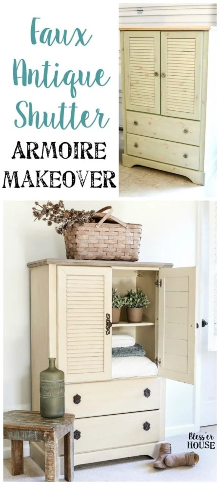 Faux Antique Shutter Armoire Makeover | blesserhouse.com - A basic veneer cabinet gets a faux antique makeover using Fusion Mineral Paint in the color Plaster aged with Espresso wax and cast iron hardware.