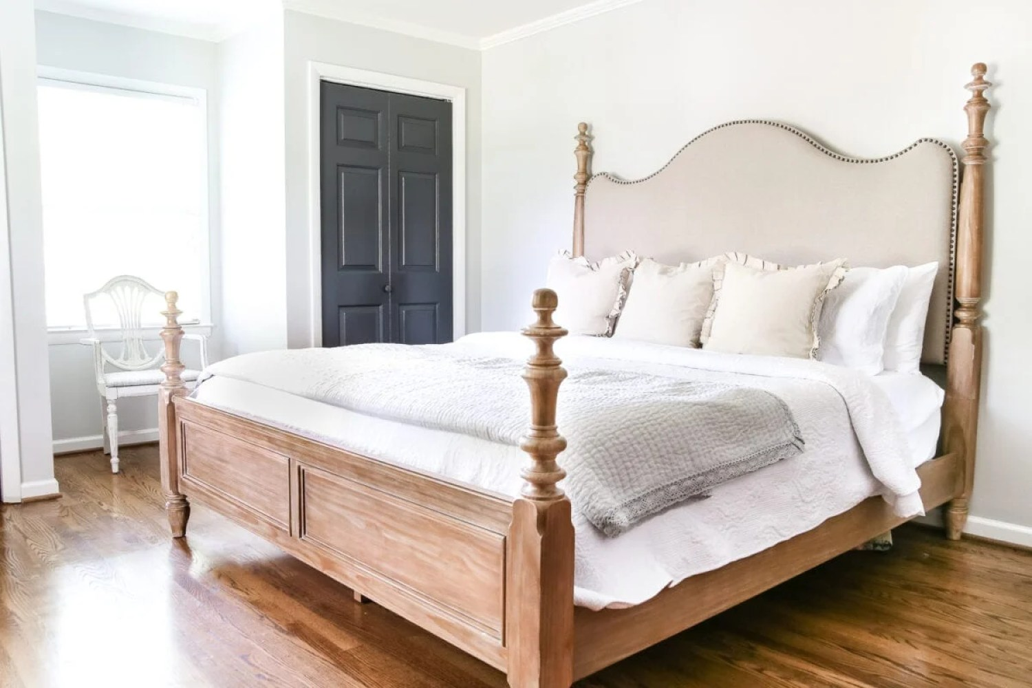 Master Bedroom Update: Pickled Pine Furniture | blesserhouse.com - The beginnings of a master bedroom makeover with whitewashed pine furniture.