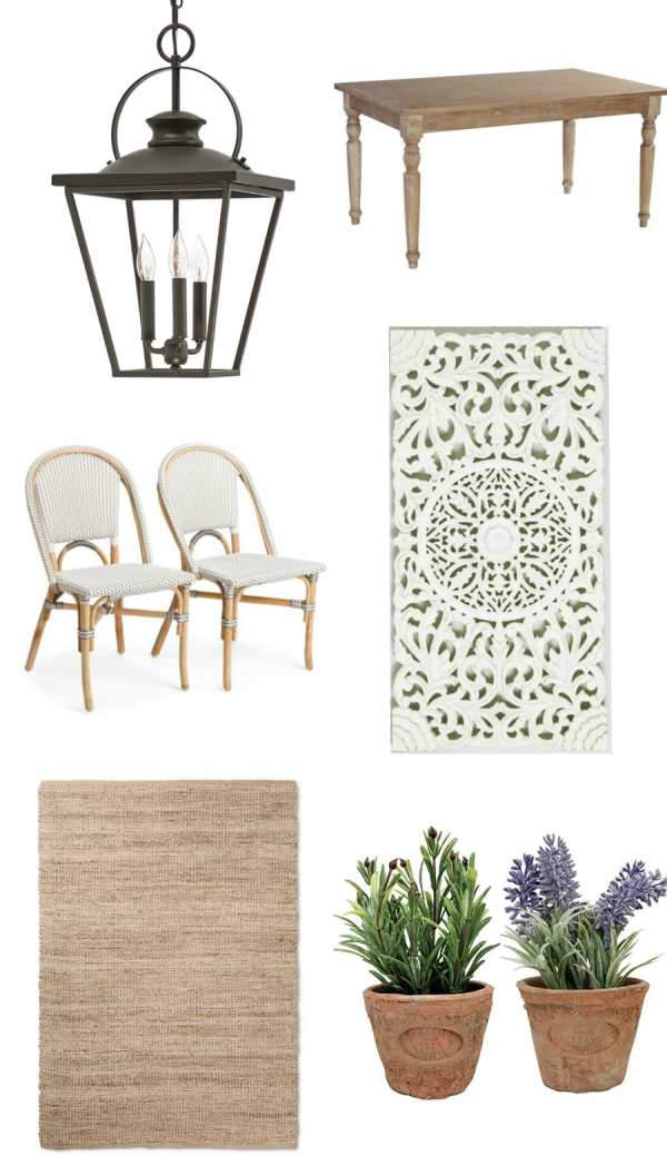 Rustic Parisian Breakfast Nook Design Plan | blesserhouse.com - A design board featuring a rustic Parisian breakfast nook using French bistro chairs, a farm table, an old gas light lantern, and wall planter.