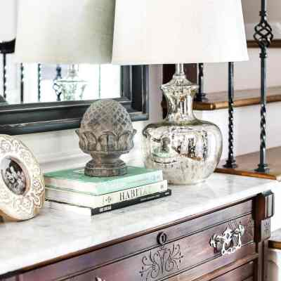 How to Remove Stains from Marble + Foyer Chest Makeover