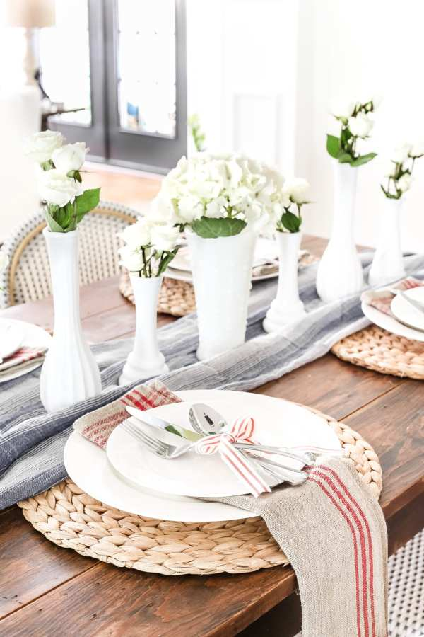 Vintage Patriotic Tablescape | blesserhouse.com - 5 tips for decorating a vintage patriotic tablescape on a budget for July 4th, Veteran's Day, or Memorial Day using repurposed items.