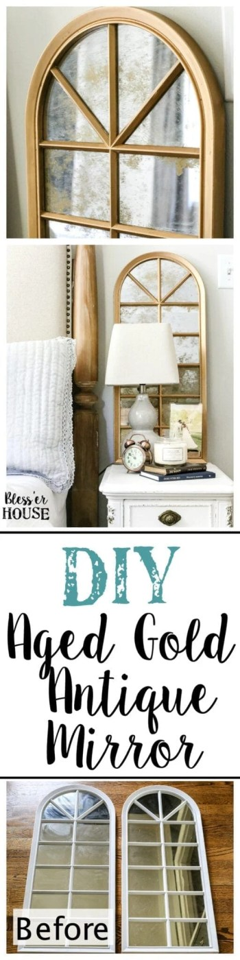 DIY Antique Gold Mirror Makeover | blesserhouse.com - A DIY tutorial to transform a cheap, plastic mirror to look like an Anthropologie inspired aged gold antique mirror using Rub 'n Buff.