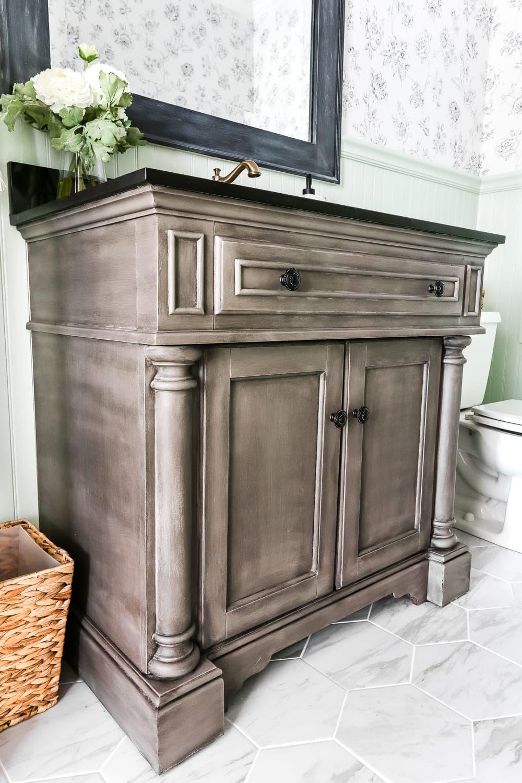 Weathered Gray Wood Look Vanity Makeover Bless Er House,Ikea Playroom Storage Hacks
