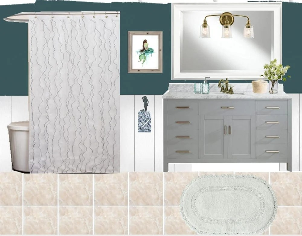 Mermaid Bathroom Design Plan | blesserhouse.com - A before tour of a tired beige kids' bathroom and a full design plan with a slightly coastal, slightly grown-up mermaid theme.