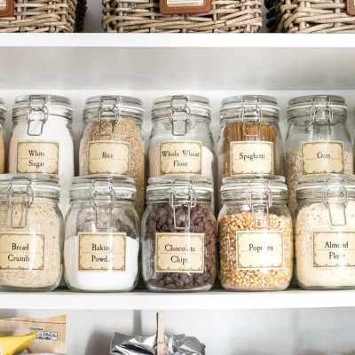 Pantry Cabinet Organization and Printable Labels