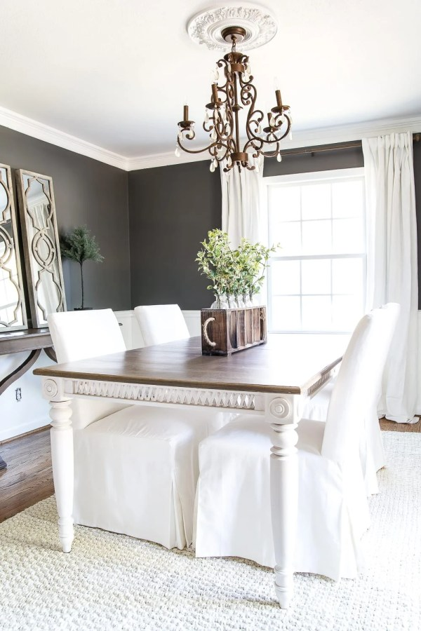 Two Tone Dining Table Makeover | blesserhouse.com - How to strip down old paint on furniture without chemical paint strippers and a two tone dining table makeover. #furnituremakeover #diningroom
