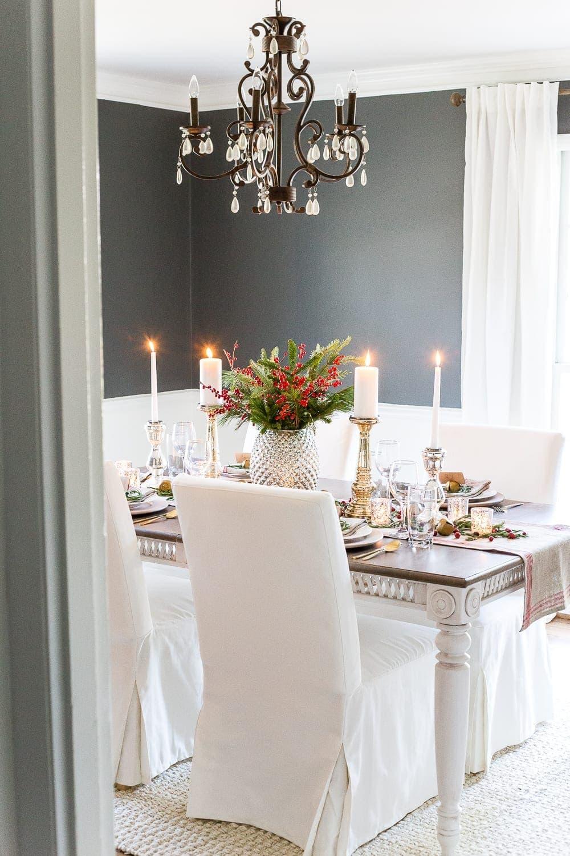 Mercury Glass Christmas Tablescape Blesser House