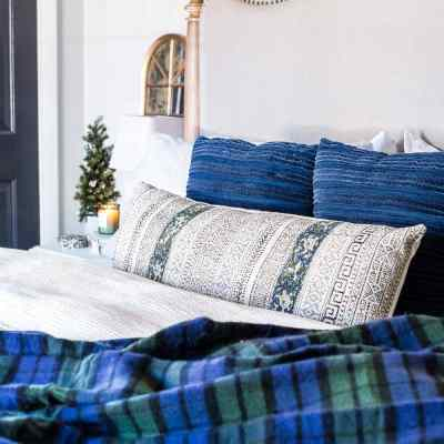 Blue & Neutral Christmas Bedroom