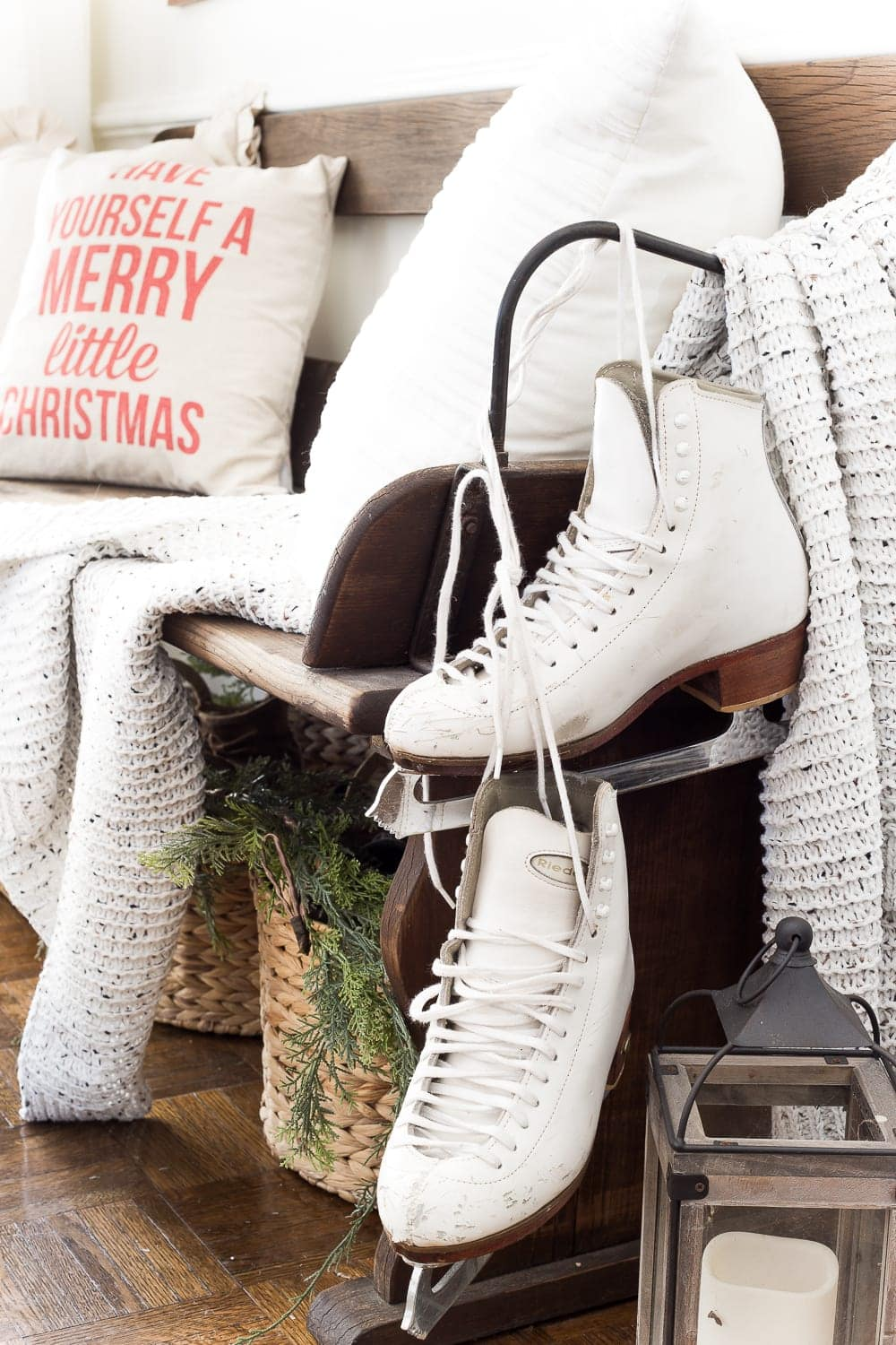 Thrifty Christmas decorating idea: Use thrifted ice skates as decor accents