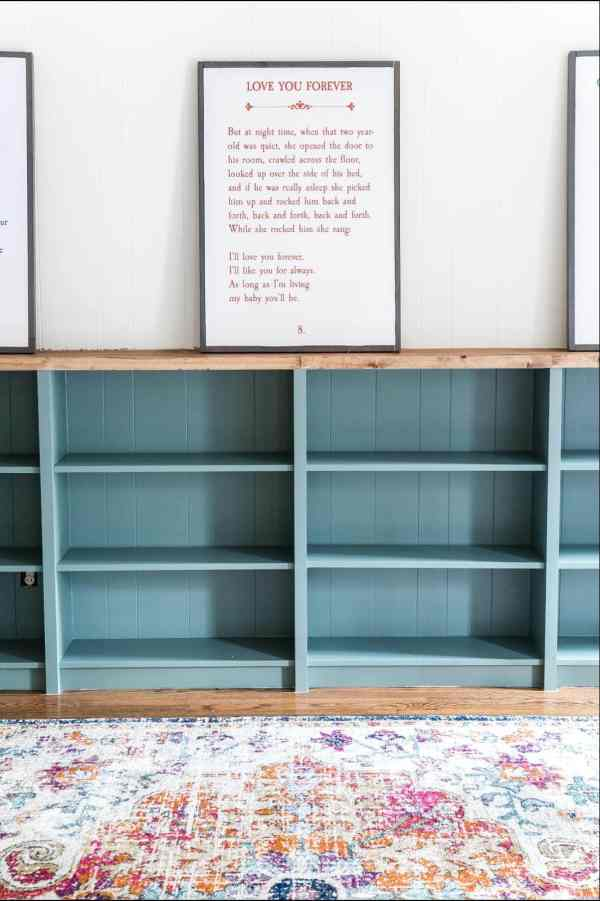 An easy to follow step-by-step tutorial showing how to build bookcase built-ins using IKEA Billy bookcases. #IKEAhack #homeimprovement #build #playroom