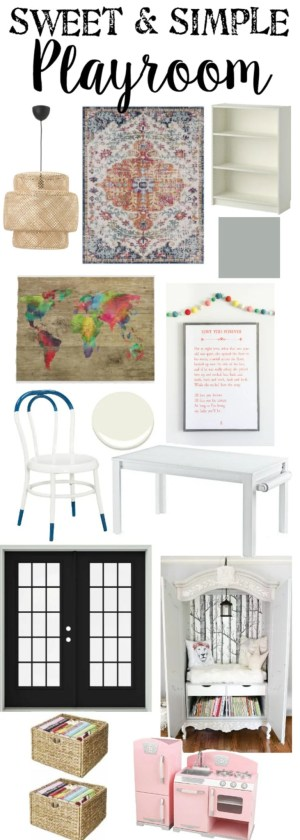 Sweet and Simple Playroom Design Plan | blesserhouse.com - A dated and disorganized playroom gets a fresh, modern, sweet design plan with storage solutions, bright colorful accents, and room to create. #playroom #designboard #moodboard #kidsroom