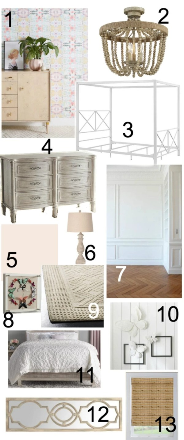 A mood board and design plan for a sweet vintage style bedroom with a modern twist that will transition well from child to tween. #kidsbedroom #girlbedroom #kidsdecor #bedroomdesign