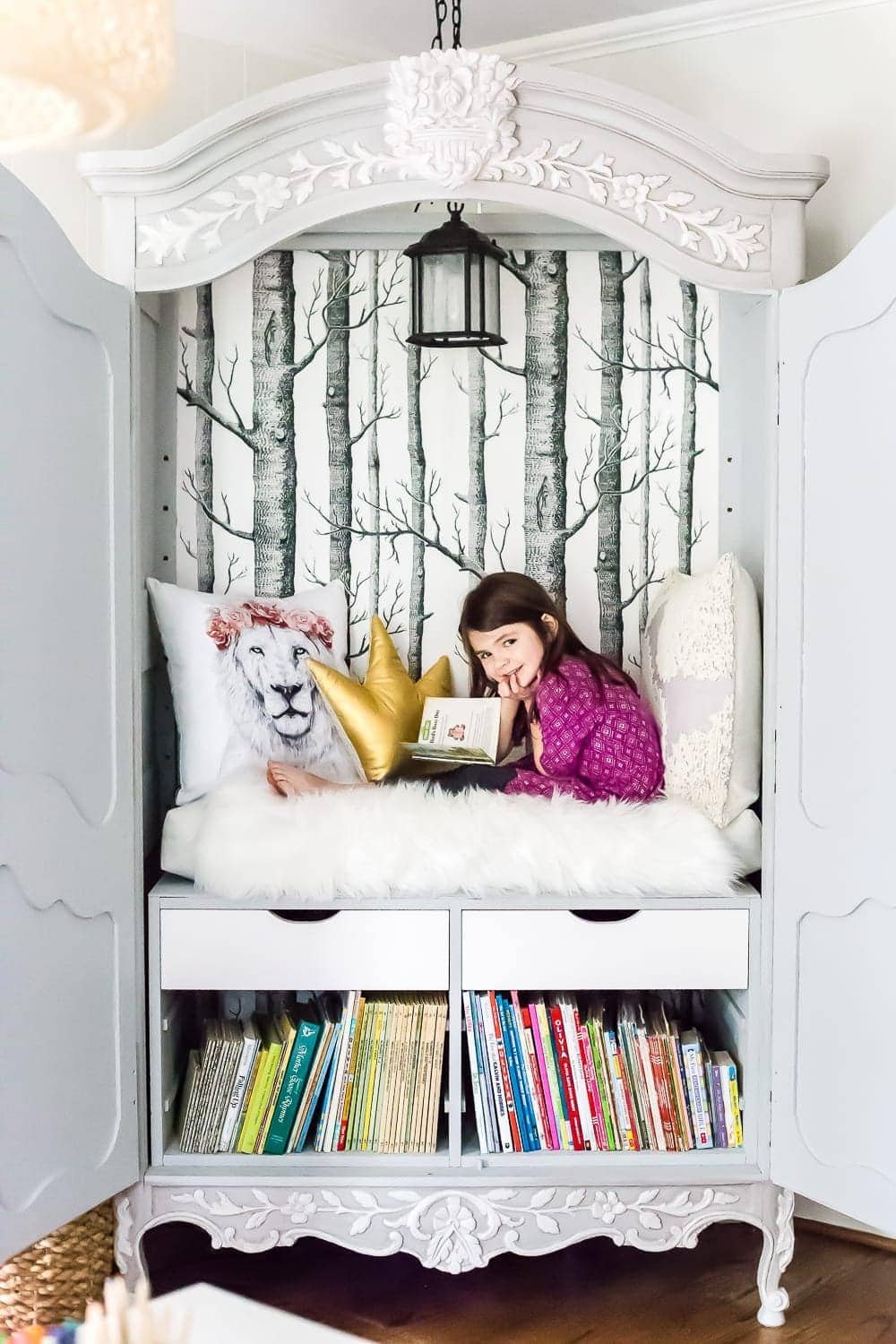 kid-friendly home - DIY reading nook from a thrifted armoire